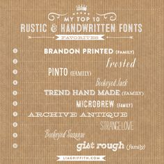 My Top 10 Rustic and Handwritten Fonts