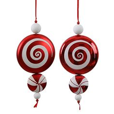 Vickerman Christmas Trees Candy Dangle Ornaments Red/White