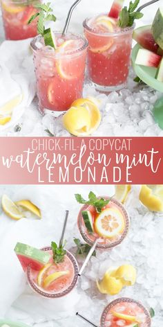 Watermelon Mint Lemonade – Chick-Fil-A Copycat With a summer weather upon us - there is really nothing like a nice cold glass of refreshing lemonade - and let me tell you, the mint-infused simple syrup makes this drink extra delicious! Homemade Lemonade Recipes, Tea Recipes, Copycat Recipes, Drink Recipes, Flavored Lemonade, Fruit Recipes, Delicious Recipes, Tasty, Smoothies
