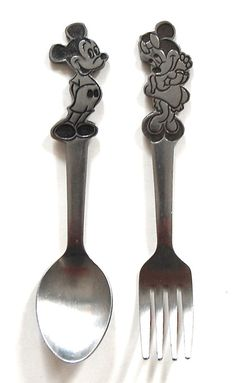 DISNEY Vintage Mickey Mouse & Minnie Mouse Stainless FORK & SPOON, BONNY JAPAN
