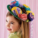 fancy hat for a tea party!  use a green paper plate for base and tissue circles for flowers