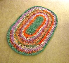 """My first rag rug!  Crocheted with 1.5"""" strips of cotton fabric.  So easy!  Can't wait to make more."""
