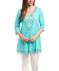Look at this #zulilyfind! Turquoise Crochet V-Neck Tunic by CLUB Z #zulilyfinds