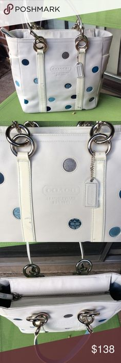 Coach genuine leather polka dots purse Inside like new condition,few blue spots outside Coach Bags