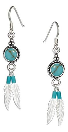 5935914a4 Sterling Silver Round Simulated Turquoise Earrings With Feather Dangles