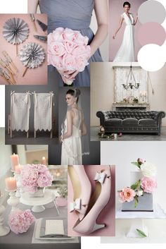 Dusky Pink & Grey Wedding Styling Moodboard to match a bespoke stationery design