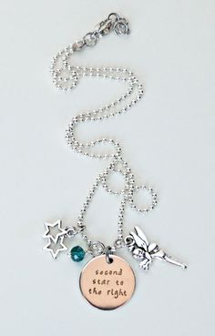 """Peter Pan necklace, """"Second star to the right"""" stamped necklace, Tinkerbell necklace, Pete Pan jewelry"""