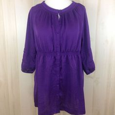 LANE BRYANT Women's Purple Tunic Elastic Waist Long Top  Keyhole Sz.14/16 NWOT #LaneBryant #Blouse