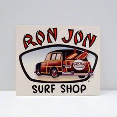 5975bba17dd8 Ron Jon Surf Shop Sticker 90s Vintage Cocoa Beach Florida Sticker Surf  Boards Woodie Station Wagon
