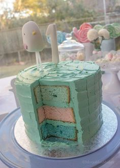 Melting points - Bird First Birthday Cake - Pastel White chocolate cake with patterned swirl