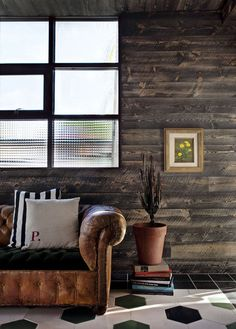wooden wall + leather sofa.  get that plant off those books, though.