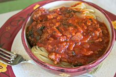 pasta sauce with spinach 4, put over veggie noodles