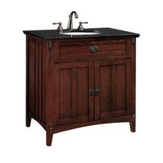 Artisan 33 in. W x 20.5 in. D Sink Cabinet in Macintosh Oak with Black Granite Top-0426210110 at The Home Depot
