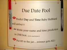 Guests wrote their name and time prediction (the tie breaker if needed .how fun! Baby Shower Diapers, Baby Shower Fun, Baby Shower Parties, Baby Showers, Huggies Diapers, Man Shower, Diaper Shower, Shower Party, Gender Reveal Games