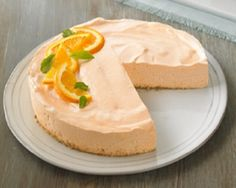 Orange-Dream Cheesecake Recipe Desserts with graham crackers, boiling water, sugar free orange gelatin, cottage cheese, fat free cream cheese, fat free whipped topping
