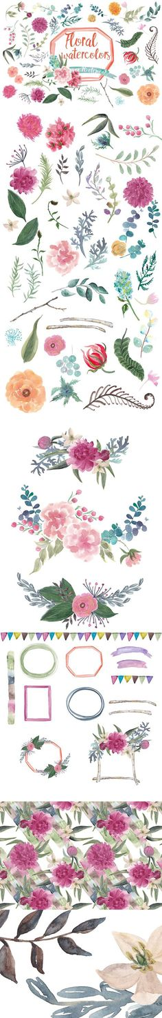 Floral watercolors. Wedding Card Templates