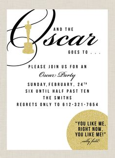 Oscar party invitations award shows are a highlight of this time of year make the Hollywood Party, Oscar Party, Movie Party, Party Time, Red Carpet Party, Oscars, Craft Party, Party Planning, Party Invitations