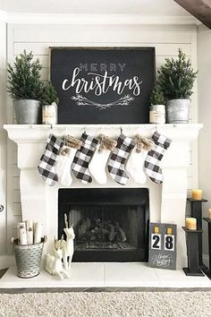 Here are the Christmas Fireplace Decor Ideas. This post about Christmas Fireplace Decor Ideas was. Decoration Christmas, Farmhouse Christmas Decor, Rustic Christmas, Christmas Home, Green Christmas, Xmas Decorations, Christmas Villages, Victorian Christmas, Christmas Fireplace Decorations