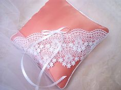 Chantilly....Lace Over Coral Satin Ring Bearer Pillow