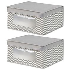 Interdesign's chevron fabric storage collection is functional and stylish. These storage boxes are perfect for clothing or linens and are great for office or extra household items. They feature a cle...