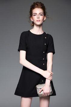 Simple Short Sleeve A Line Faux Pearl Mini Dress