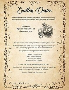 'Endless Desire' A Bottle Spell to Strengthen a Relationship Witchcraft Love Spells, Witchcraft Spells For Beginners, Hoodoo Spells, Jar Spells, Wiccan Witch, Latin Spells, Luck Spells, Healing Spells, Truth Spell