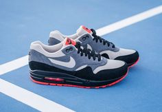 Nike Air Max 1 Leather – Granite/Black/Hot Red