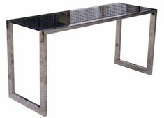 """Premium Stainless Steel 60"""" Modern Executive Desk with Black Glass Top"""