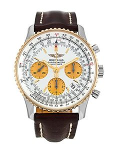 Breitling Navitimer not seen this colour way before — liking the yellow gold bezel and gold coloured sub dials with tan brown strap. Breitling Navitimer, Breitling Watches, Automatic Watch, Chronograph, Jewelery, Clock, Silver, Gold, Accessories