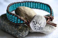 Beaded leather wrap bracelet Turquoise shabby by jessicasserenity, $28.00
