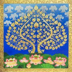 Pichwai Paintings, Indian Art Paintings, Asian Wall Art, Asian Art, Tree Canvas, Canvas Art, Bodhi Tree, Tanjore Painting, Thai Art