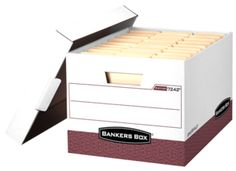 Bankers Box® R-Kive® - Letter/Legal, White/Red - Heavy-duty, triple end, double side, double bottom construction stacks up stronger and withstands frequent handling. FastFold® quick and easy assembly. Reinforced tear-resistant hand holes make box comfortable to carry. Deep, locking lift-off lid stays in place for secure file storage. Smooth rolled edges add strength and prevent paper cuts.