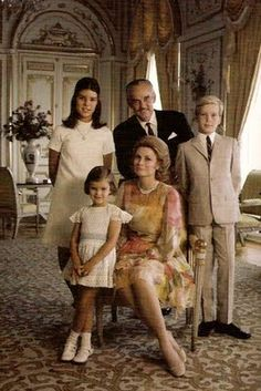 Princess Caroline, Princess Stephanie, and Prince Albert with their parents Prince Ranier and Princess Grace