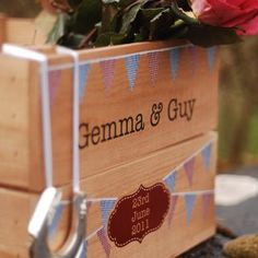 Personalised Bunting Wedding Square Gift Crate
