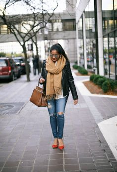 classic style, leather jacket, camel scarf, winter style, AG jeans, bow red pumps, celine edge bag