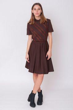 1970's Brown Dress  Vintage 70s Striped Pleated A by mijumaju
