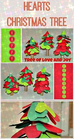 Simple Christmas Tree Craft made with hearts. #christmascrafts