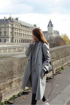 Pure Color Plus Cotton Thicker Straight Long Coat