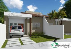 Two-Bedroom House Plan with Pergola - Cód. Terraced House, Living Room Tv, Small House Plans, Home Projects, Pergola, Garage Doors, Outdoor Structures, Architecture, Outdoor Decor