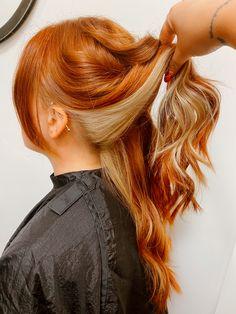 Tone Orange Hair, Two Toned Hair, Ginger Hair Dyed, Ginger Hair Color, Red Blonde Hair, Toning Blonde Hair, Under Hair Dye, Cheveux Oranges, Hair Dye Colors