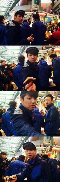 Minhyuk wanna share his food with fan. Great food fanservice boy. CNBLUE on RunningMan ep 186.