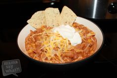 Slow Cooker White Bean Chicken Chili Recipe from Mama Say What?! Great white bean chicken chili recipe for your slow cooker that the whole family will love
