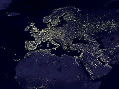 The lights of Europe and North Africa from up there.