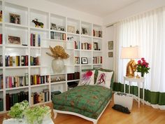 bookcase wall - clean & tidy look (not overfilled like mine would be)