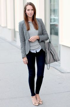 Gray Blazer And Jeans 2017 Street Style