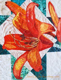 Tiger Lily Applique Quilt by Jane  L Kakaley  Art Quilt Pattern  PDF  www.etsy.com/shop/JaneLKakaley