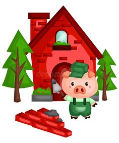 Illustration about Pig with a sturdy brick house he made. Illustration of adorable, fairytale, illustration - 130666068 Pig Illustration, Pig Party, Three Little Pigs, Fairy Tales, Brick, Clip Art, Clay, Puppets, Fairy Tail