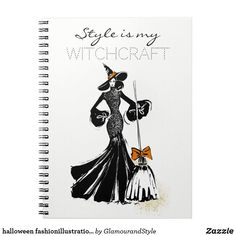 halloween fashionillustration with a broom notebook Halloween Make Up, Halloween Party, Chic Halloween, A Broom, Custom Notebooks, Festival Party, Creative Business, Gifts For Dad, Elegant Styles