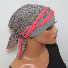 Einzigartige Kopftuchmütze mit einem Baumwollstirnband in grau und am Hinterkopf mit einem tollen sehr hochwertigen Funktionsstofftuch (wie Sportbekleidung) in Multicolour  plus  1 langes...