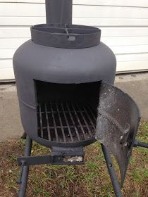 I made this small wood stove from a propane tank. I added a cross brace on - Fishing Tank - Ideas of Fishing Tank - I made this small wood stove from a propane tank. I added a cross brace on the top to place a pan for cookin Gas Bottle Wood Burner, Diy Wood Stove, Sauna Wood Stove, Best Camping Stove, New Stove, Diy Fire Pit, Fire Pits, Welding Projects, Blacksmith Projects